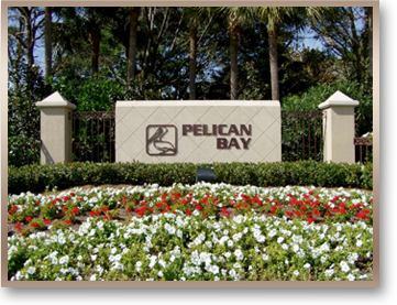 Picture of the entrance to Pelican Bay in Naples Florida